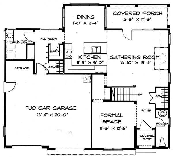 Tudor Floor Plan - Main Floor Plan Plan #413-135