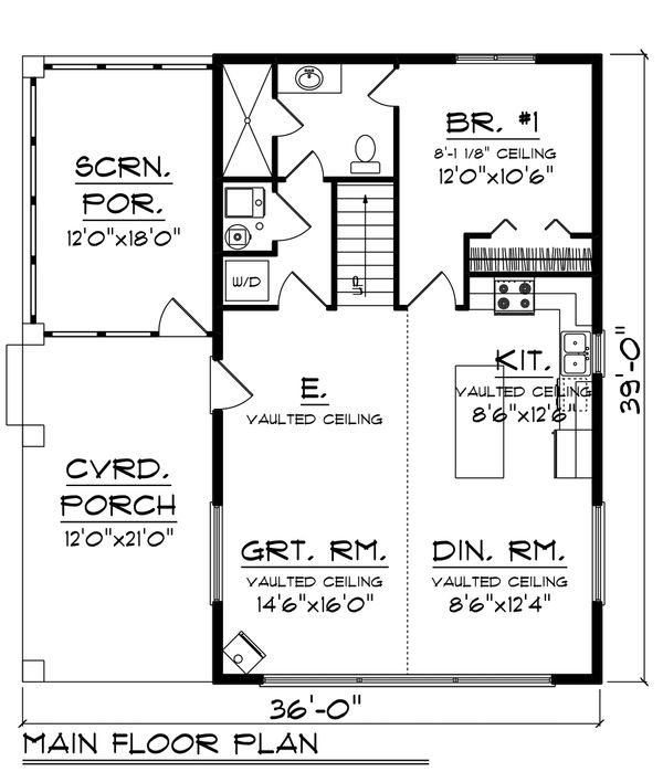 Cabin Floor Plan - Main Floor Plan Plan #70-1476