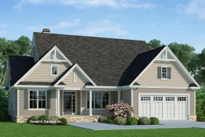 Ranch Exterior - Front Elevation Plan #929-1091