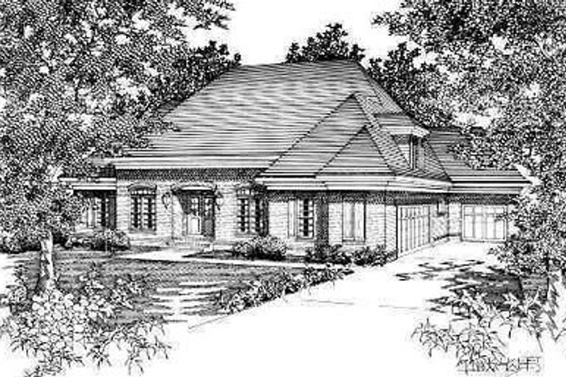 European Style House Plan - 5 Beds 3 Baths 3053 Sq/Ft Plan #329-282 Exterior - Front Elevation