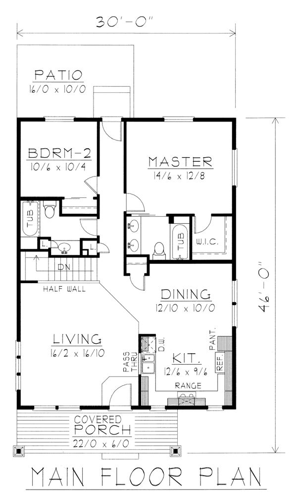 Craftsman Floor Plan - Main Floor Plan Plan #112-159