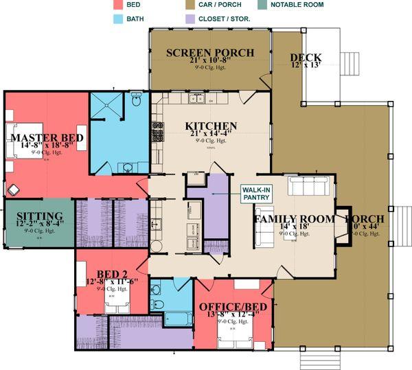 Farmhouse Floor Plan - Main Floor Plan Plan #63-388