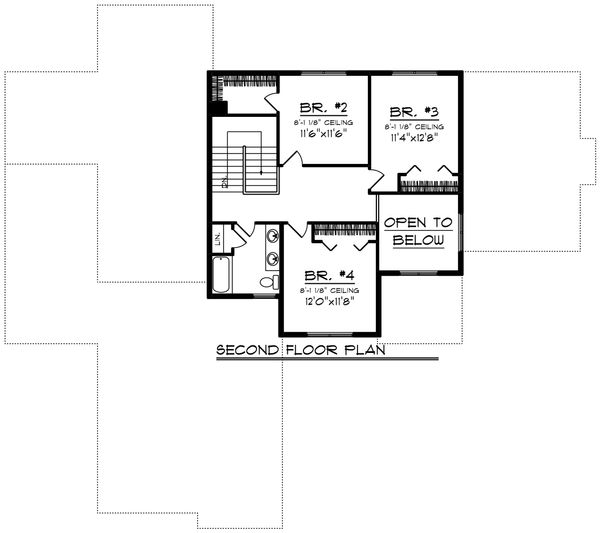 Craftsman Floor Plan - Upper Floor Plan Plan #70-1428