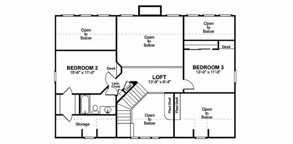 Farmhouse Floor Plan - Upper Floor Plan Plan #56-238
