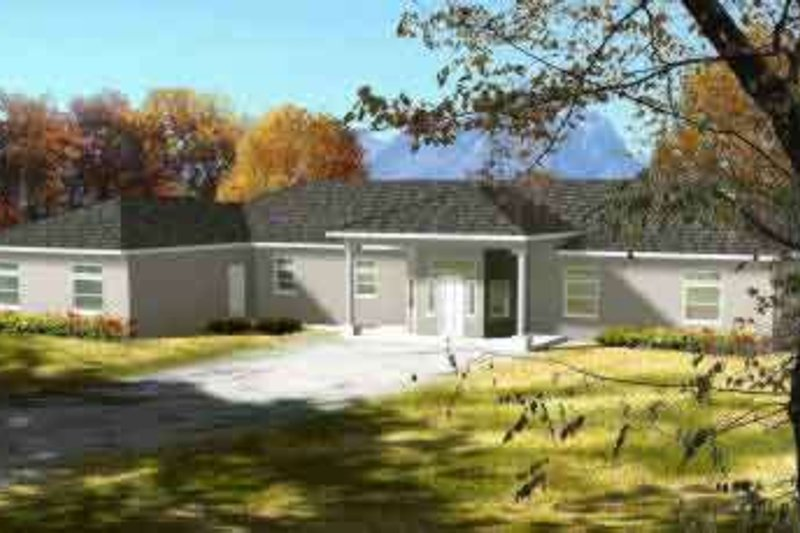 Ranch Style House Plan - 3 Beds 4 Baths 3618 Sq/Ft Plan #1-866 Exterior - Front Elevation