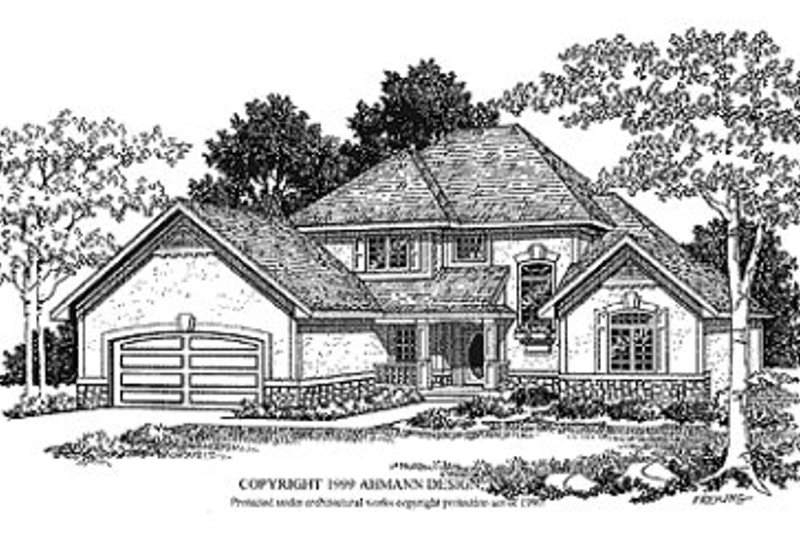 Traditional Exterior - Front Elevation Plan #70-432 - Houseplans.com