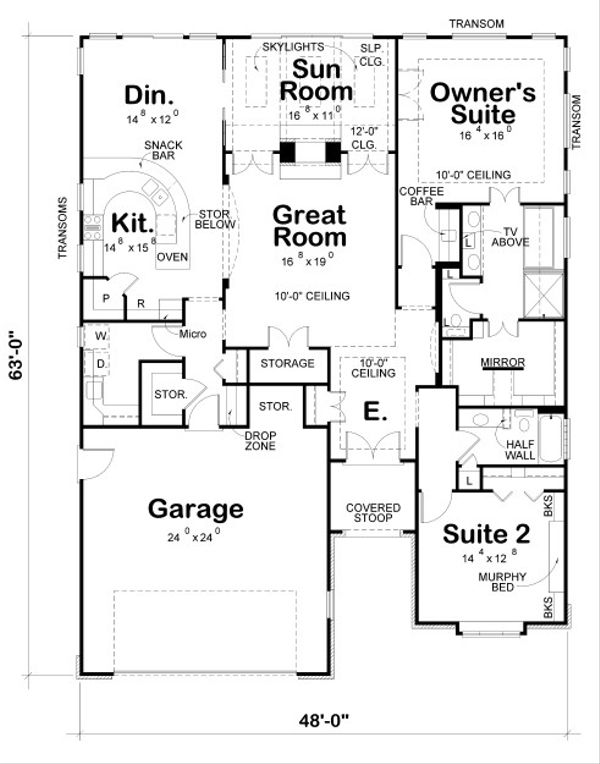 European Floor Plan - Main Floor Plan Plan #20-2069