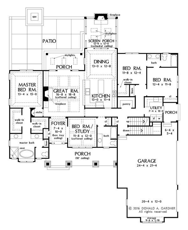 Home Plan Design - Optional Basement Stair Location