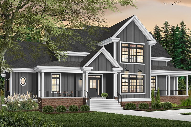Country Style House Plan - 4 Beds 3.5 Baths 2889 Sq/Ft Plan #23-234 Exterior - Front Elevation