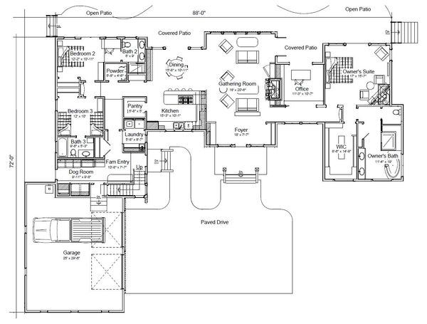 Craftsman Floor Plan - Main Floor Plan Plan #451-20