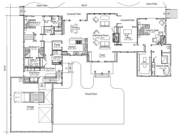 Craftsman Floor Plan - Main Floor Plan Plan #451-20