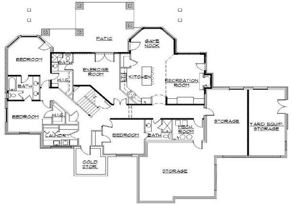 House Plan Design - European Floor Plan - Lower Floor Plan #5-389