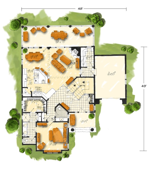 Home Plan - Cabin Floor Plan - Main Floor Plan #942-40
