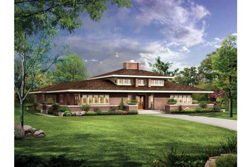 House Blueprint - Prairie Exterior - Front Elevation Plan #72-153