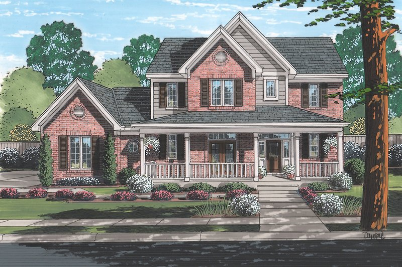 House Plan Design - Traditional Exterior - Front Elevation Plan #46-496