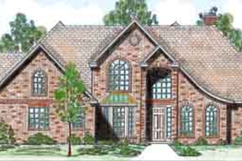 European Style House Plan - 4 Beds 4.5 Baths 3652 Sq/Ft Plan #52-186 Exterior - Front Elevation