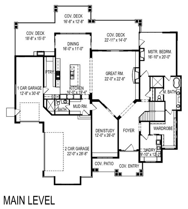 Modern Floor Plan - Main Floor Plan Plan #920-123