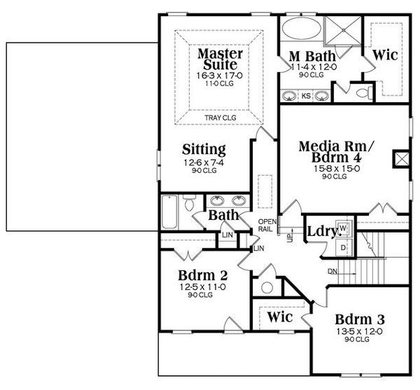 Farmhouse Floor Plan - Upper Floor Plan Plan #419-258