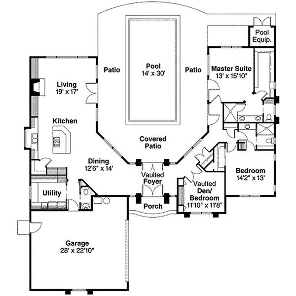 House Design - Ranch Floor Plan - Main Floor Plan #124-501
