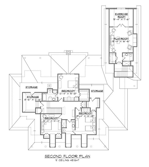 Architectural House Design - Country Floor Plan - Upper Floor Plan #1054-75