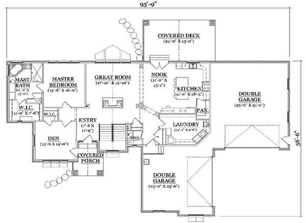 Craftsman Floor Plan - Main Floor Plan Plan #5-249