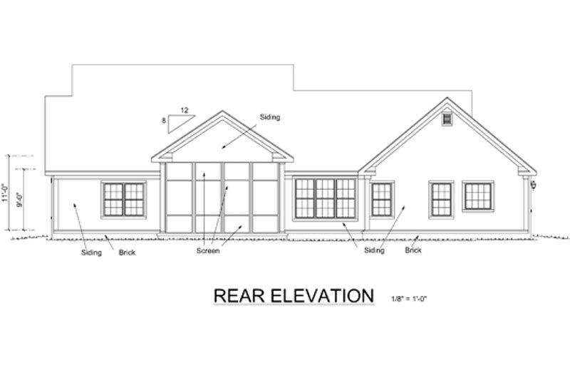 Cottage Exterior - Rear Elevation Plan #513-2048 - Houseplans.com