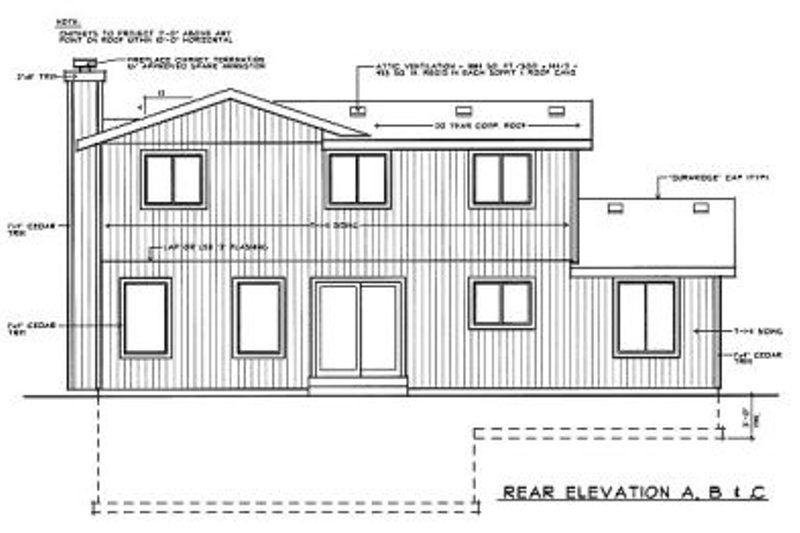Traditional Exterior - Rear Elevation Plan #92-214 - Houseplans.com