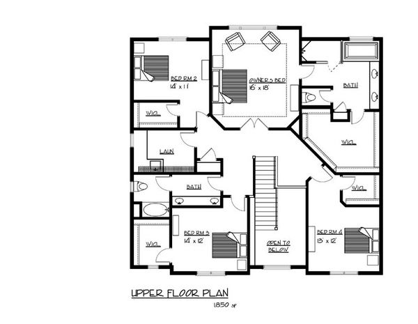 Traditional Floor Plan - Upper Floor Plan Plan #320-500