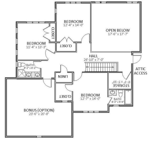 European Floor Plan - Upper Floor Plan Plan #898-22