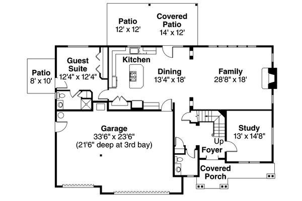 Home Plan - Craftsman style house plan, main level floor plan