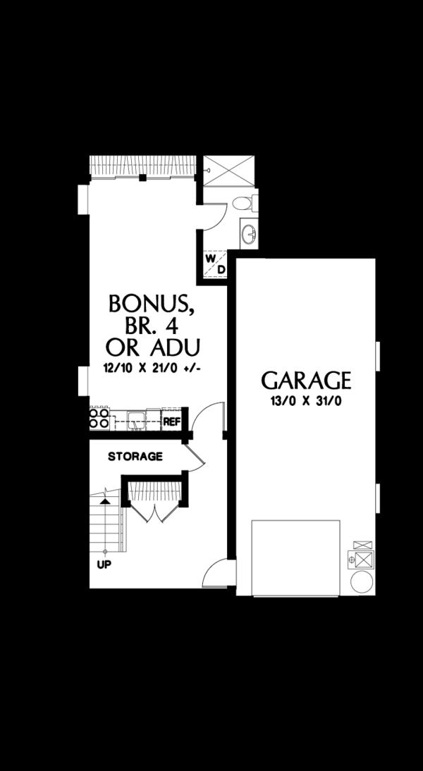 Craftsman Floor Plan - Lower Floor Plan #48-678