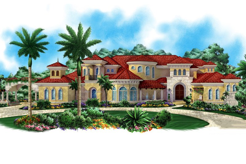 Mediterranean Style House Plan - 5 Beds 7 Baths 12725 Sq/Ft Plan #27-479 Exterior - Front Elevation