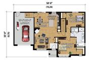 Ranch Style House Plan - 2 Beds 1 Baths 1064 Sq/Ft Plan #25-4547 Floor Plan - Main Floor Plan