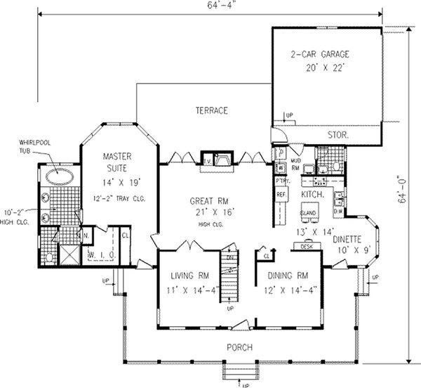 Country style house plan, farmhouse main level floor plan