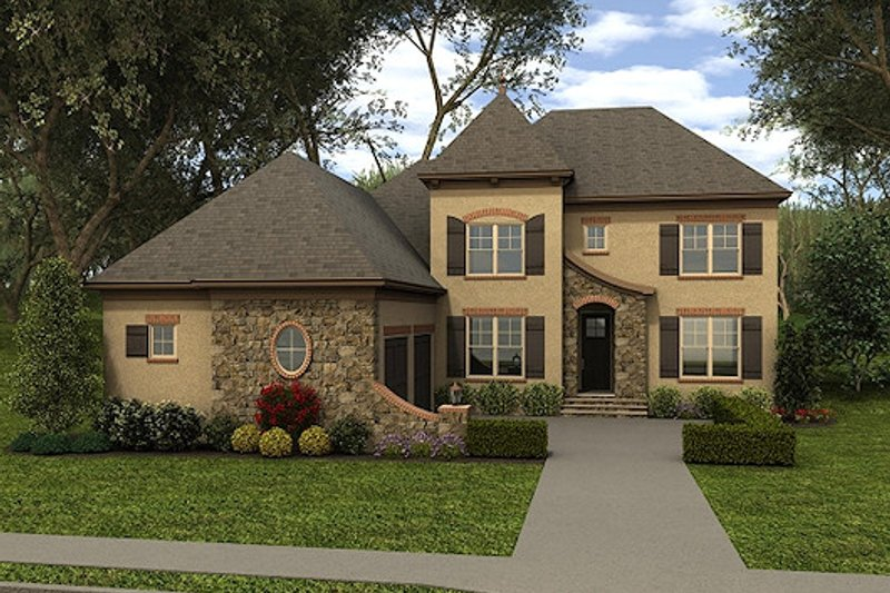 European Style House Plan - 5 Beds 4 Baths 3436 Sq/Ft Plan #413-883 Exterior - Front Elevation