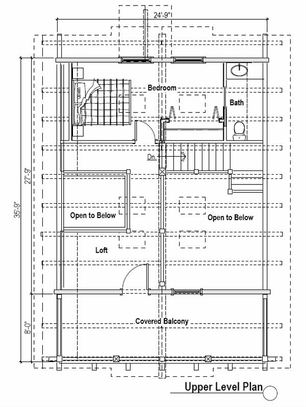 Log Style House Plan - 1 Beds 1.5 Baths 1695 Sq/Ft Plan #451-1 Floor Plan - Upper Floor Plan