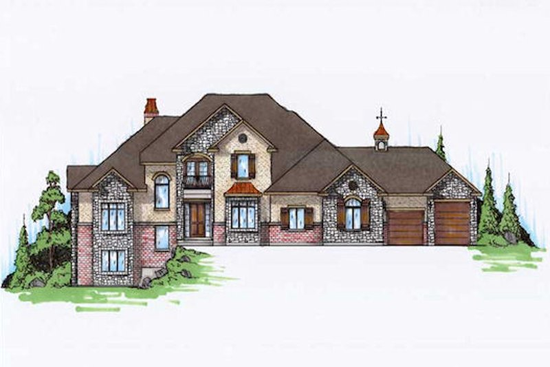 European Exterior - Front Elevation Plan #5-397