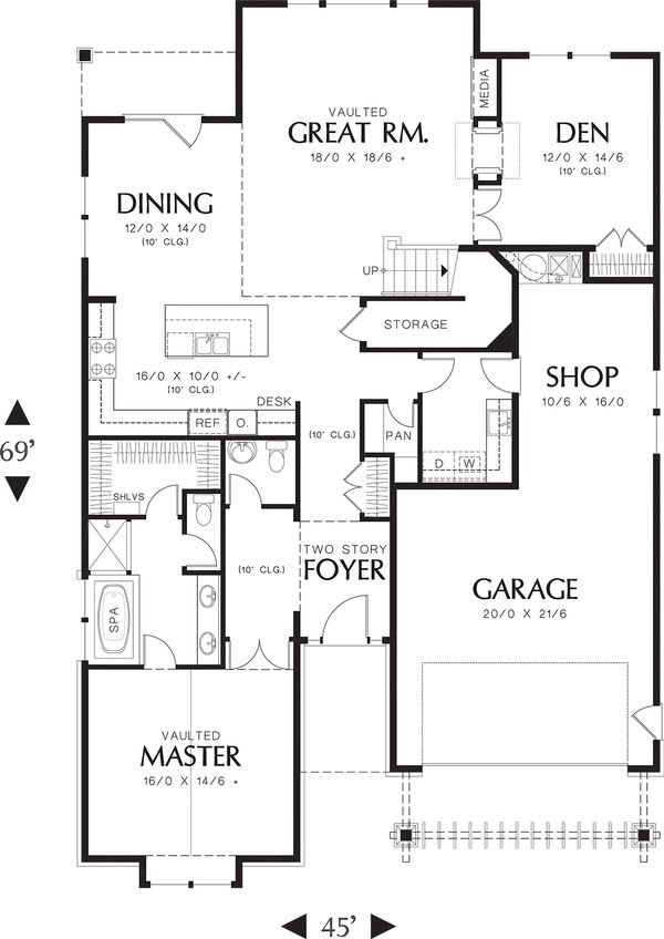 Main Level Floor Plan - 3400 square foot Craftsman home