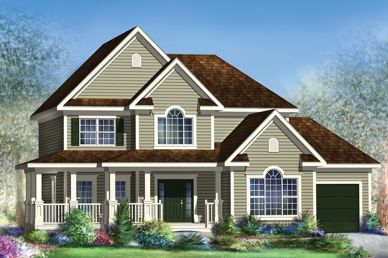 Country Style House Plan - 3 Beds 2 Baths 2428 Sq/Ft Plan #25-4427 Exterior - Front Elevation