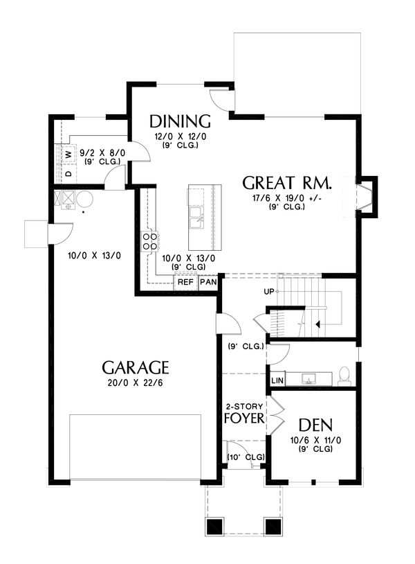 Contemporary Floor Plan - Main Floor Plan Plan #48-990