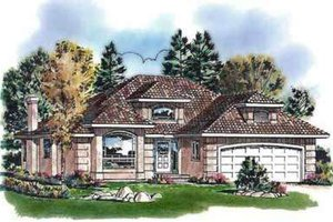 European Exterior - Front Elevation Plan #18-338