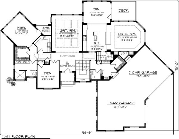 Craftsman Floor Plan - Main Floor Plan Plan #70-1130