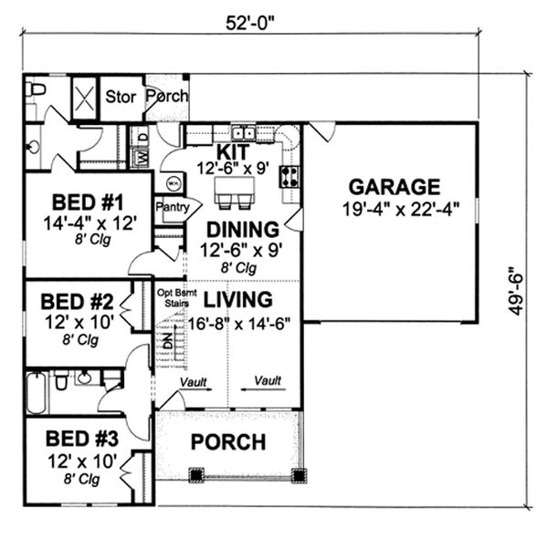Cottage Floor Plan - Main Floor Plan Plan #513-2044