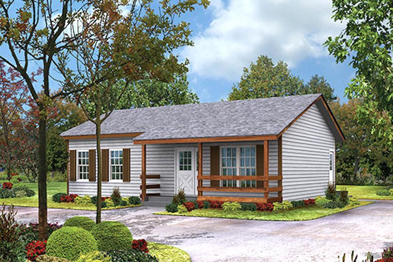 Cottage Style House Plan - 2 Beds 1 Baths 864 Sq/Ft Plan #57-220 Exterior - Front Elevation