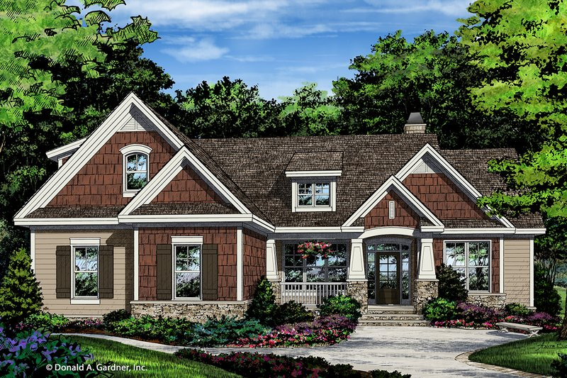 Craftsman Style House Plan - 3 Beds 2 Baths 1622 Sq/Ft Plan #929-1027 Exterior - Front Elevation