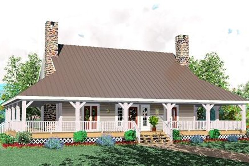 Country Style House Plan - 3 Beds 2.5 Baths 2417 Sq/Ft Plan #81-239 Exterior - Front Elevation