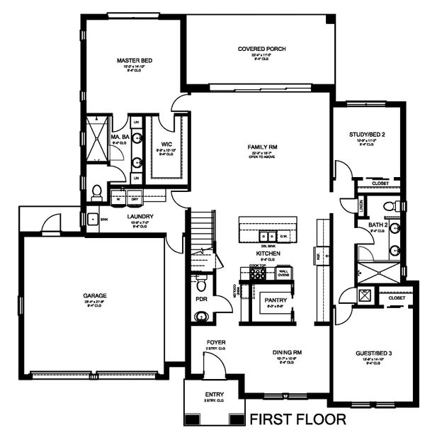 Modern Floor Plan - Main Floor Plan Plan #1058-175