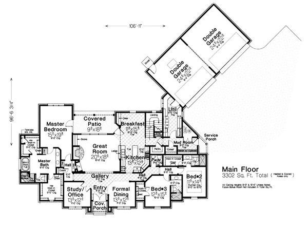 European Floor Plan - Main Floor Plan Plan #310-1298