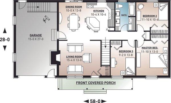 House Plan Design - Farmhouse Floor Plan - Main Floor Plan #23-122