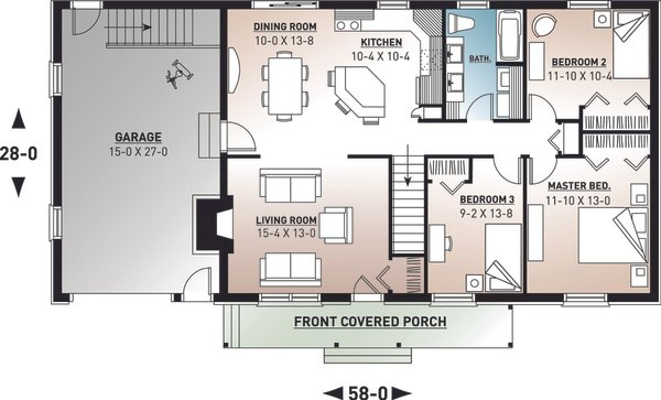 House Plan Design - Farmhouse Floor Plan - Main Floor Plan #23-122